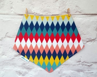 Gender Neutral Bandana Bib - Organic Bamboo & Cotton Dribble Bib - Modern Baby - Geometrical Bib - Diamonds Bib - Circus Bib - UK Seller