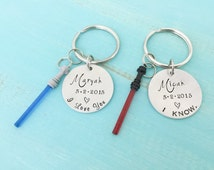I Love You I Know - Couples keychains- Light Saber Keychains - Anniversary Gift for Him - Hand stamped jewelry-Geeky Keychains - Name Date
