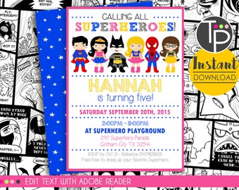 SUPERHERO GIRL Invitation, Instant download Superhero Invitation, Superhero Girl, Girl Superhero Invitation, Edit yourself with Adobe Reader