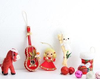 Vintage Ornaments, vintage styrofoam ornaments made in Japan, 1950s Christmas Ornaments