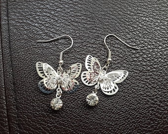 Silver plate butterfly and crystal drop earrings