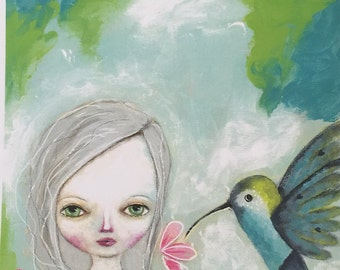 Girl and Hummingbird Print