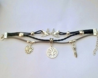 Pagan Tree of Life cord charm /Friendship bracelet. Green man, Earth Goddess, 2 Doves and Tree of life Tibetan silver charms. on 3 cords.