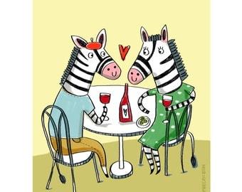 Apero-Zebra Print- Animal Illustration-Home Decor-Dining Room Decor-Kitchen Decor-Wine lover gift-Fun Print-Romantic Print (8 X 10 in)