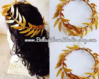 Gold leaf Crown, Gold Headpiece, Golden leaves Headpiece, Greek Goddess crown Men's, Crown, Greek God, Caesar, Gold Crown,Costume crown etsy