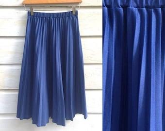 Vintage Navy Pleat Skirt