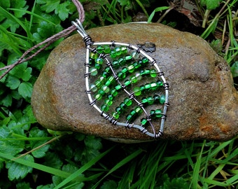 "2"" or 1"" Leaf necklace with green beading- made with silver and copper wire"