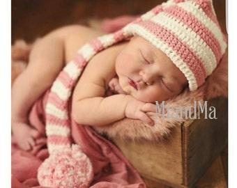 White and pink crochet hat, newborn crocheted hat, newborn photo prop, girls long tail hat, baby shower gift, winter hat