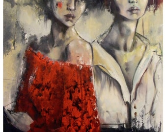 """Women portrait on cnvas- """"Trapped in time""""-"""