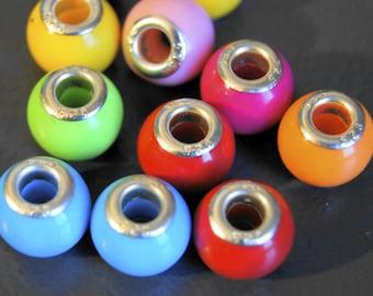 8 beads European acrylic body tube diameter silver metal 13 * 12 mm ceramic bead