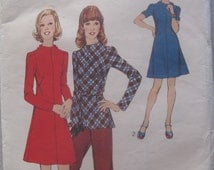 Style 4319, Junior Petite, size 11, bust 34, 70s dress, tunic, trousers