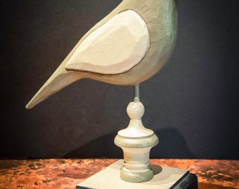 Vintage Carved Wood Primitive Bird Finial on Stand