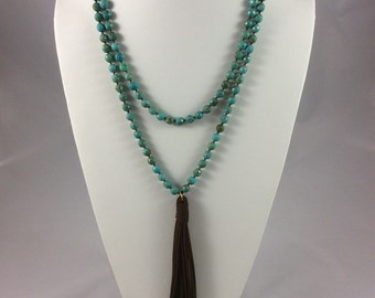 Turquoise Double Wrap Tassel Necklace