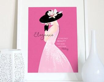 Audrey Hepburn elegance quote, Audrey Hepburn print, Audrey quote, Audrey Hepburn saying, fashion illustration, fashion poster