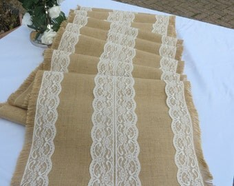 """Luxury Hessian and Lace Table Runner 12' long x 18"""" wide"""