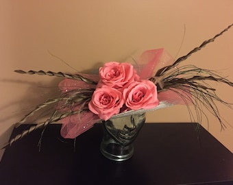 Grey Derby Hat with Coral Flowers and Earth-tone Feathers