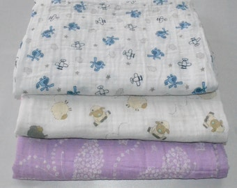 Swaddling Blankets, Set of two blankets, Double Gauze, 100% cotton.