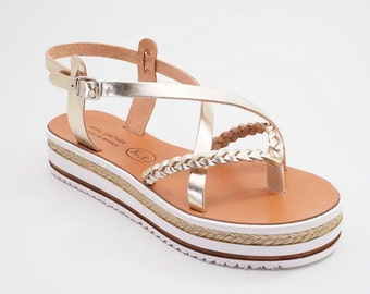 Greek Cowhide Leather Sandals (38 - Gold)