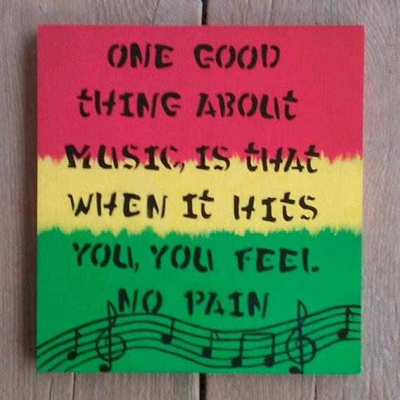 Rasta Colored Painting Reggae Art Music Note Decor Handmade