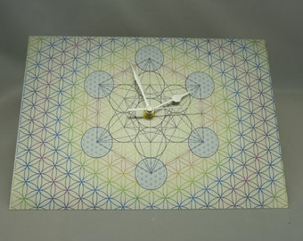 New-In:- Sacred Geometry on brushed SILVER metal - 'Metatron Cube Within the FLOWER of LIFE' - Silent Wall Clock -Non-Tick with Glide Motion