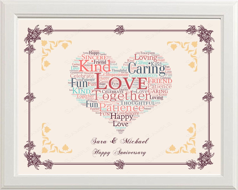 5th Anniversary Gift 5th Anniversary Gift Word Art Heart
