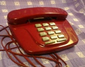 Vintage Lenoxx Sound Push Button Designer Maroon 1980's Retro Land Line Telephone PH - 306