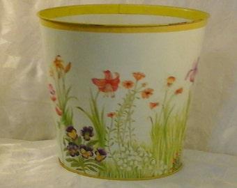 Floral Tin Trash Waste Basket Can Bedroom Retro Office