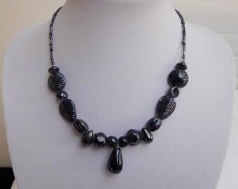 Slate Grey Beaded Necklace, Dark Grey Necklace, Bead Necklace