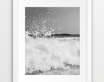 Ocean Wave Printable Art, Beach Decor, Coastal Wall Art, Wave Print, Black And White Photography, Grey Wall Decor, Sea Photo Modern Wall Art