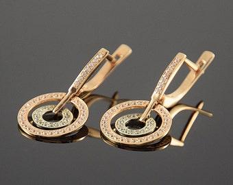 Geometric earrings, Art deco earrings, Gold earrings, Women earrings, Dangle earrings, Round earrings, Cz earrings, Stone earrings