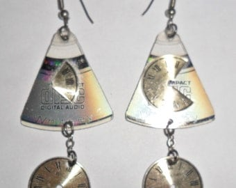 Cool unusual lightweight vintage recycled upcycled computer CD fragment collage style pierced earrings