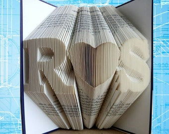 Folded Book Art, Anniversary Gift, 1st Wedding Anniversary, Monogrammed Heart, Gift for Him, Cadeaus voor Jubileum,Wedding,Personalized Gift