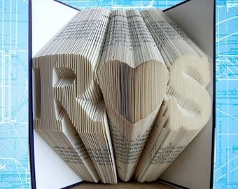 Gevouwen boek kunst, Anniversary Gift, 1ste huwelijksverjaardag, monogram hart, Gift voor hem, Cadeaus voor Jubileum, bruiloft, gepersonaliseerde geschenk