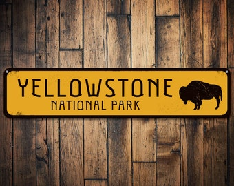 Buffalo National Park Sign, Personalized Park Destination Sign, Yellowstone National Park Custom Location Sign - Quality Aluminum ENS1001724
