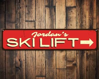 Ski Lift Sign, Personalized Ski Arrow Sign, Custom Name Ski Lover Sign, Metal Ski Lodge Decor, Ski Lift Decor - Quality Aluminum ENS1001562