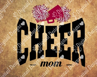 Cheer Mom SVG - png - dxf - eps - fcm - ai - Cheer Family Cut file - Cheer Dad SVG - Cheer Mom Cut File - Cheer Mom Design