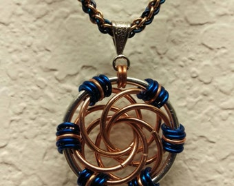 Handmade Chainmaille Necklace Pendant Maillestrom Copper and Aluminum