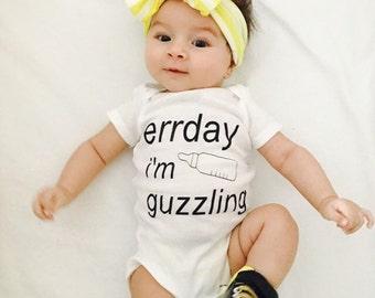 Funny baby onesie everyday im guzzling unisex onesie funny baby shower gift