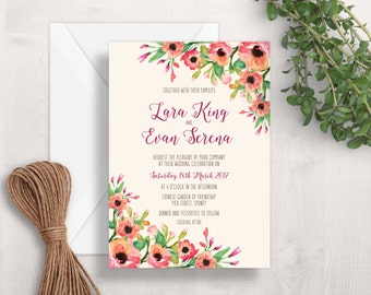 White & Black Wedding Invitation Printable Wedding