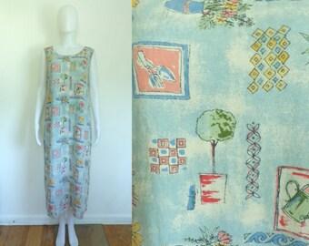 35%offJuly21-24 90s garden dress size large 12/14, floral gardening linen rayon sleeveless sundress, 1990s day dress, flower boho sun dress