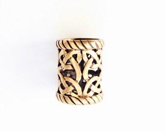 Big beard ring / dreadlock bead with knotwork designs VIKING KRISTALL pendant bronze