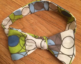 Bow Tie Blue, White Grey and Green Circles and Squares Pattern