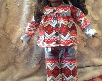Two piece flannel pajama for american girl doll, maplelea girl, our generation, journey girl any 18 inch doll