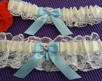 White Lace garter set, center ivory satin, light blue bow, Rhinestone, Laser engraved tag, Wedding garter set, Prom garter, Custom garter