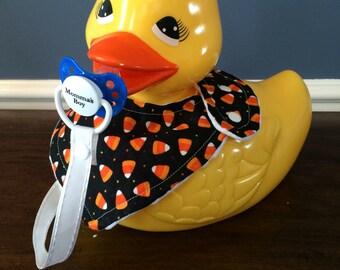 Halloween Candy Corn Baby Bandana Bib with Pacifier Leash