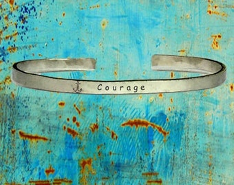 """Anchor Courage - Cuff Bracelet Jewelry Hand Stamped Distressed Look 1/4"""" Wide Organic, Smooth Texture Copper Brass or Aluminum"""