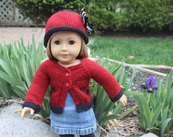 AG Doll Ladybug sweater and hat set