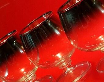 VTG Silver Fade Rimmed Dorothy Thorpe Style Short Stem Wine/Bourbon Glasses
