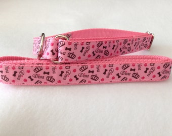 Diva Dog Collar, Pretty Girl Martingale Dog Collar, Princess Dog Leash