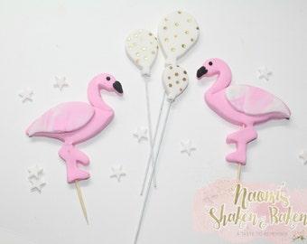 1x Edible Flamingo Balloon Fondant Cake Topper Set 6-9cm